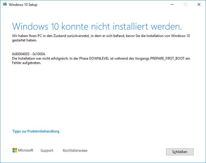 Fehlermeldung beim Windows 10 update