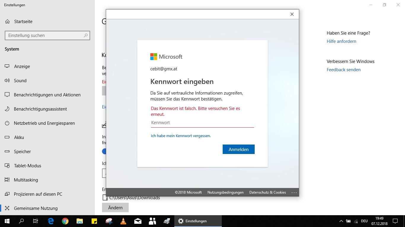 Problem mit dem Microsoft Konto