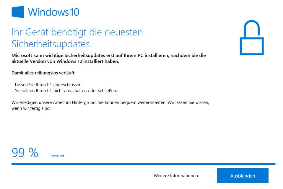 Windows 10 Upgrade 9252 bleibt bei 99% stehen
