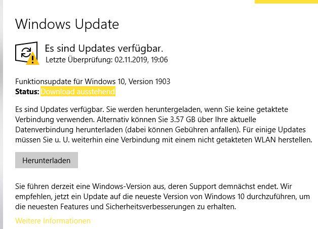 was heisst das, und weshalb kann ich das update nicht vollständig erledigen