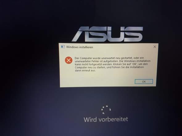 Fehlermeldung beim Neu aufsetzen meinen Laptops?