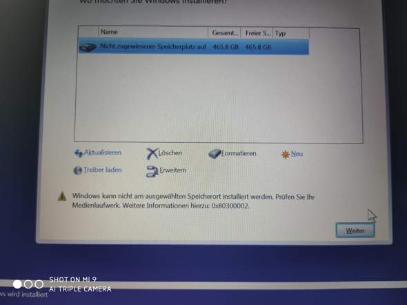 Windows 10 installieren fehlgeschlagen?