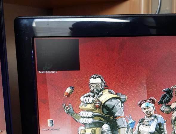 schwarzes Rechteck oben links Windows 10?
