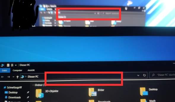 Weiße Linie im File Explorer (Windows 10)?