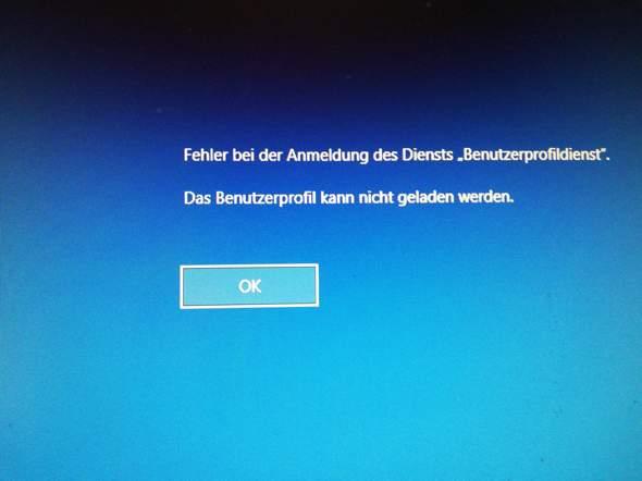"""Fehler bei der Anmeldung des Diensts """"Benutzerprofildienst"""" Das Benutzerprofil kann nicht..."""