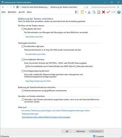 Windows 10 - Piepen von Shift-Taste deaktivieren?