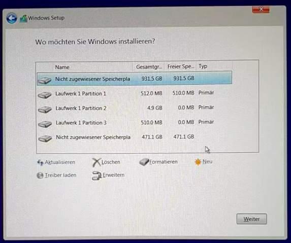 Windows auf welcher Festplatte / Partition installieren?
