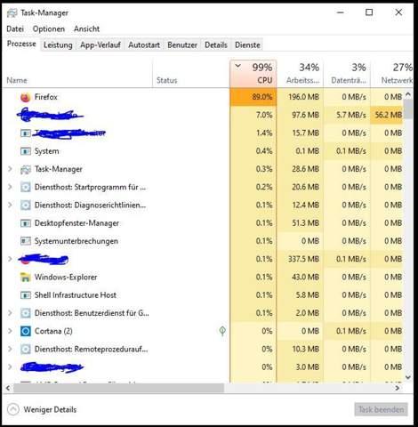 Firefox hat nach Hochfahren 90% CPU auslastung?