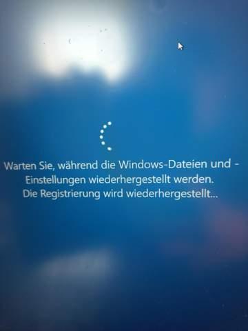 Windows 10 Systemwiederherstellung hängt was tun?