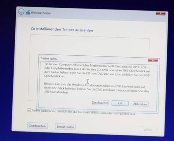 Windows 10 Installation Medientreiber fehlen?