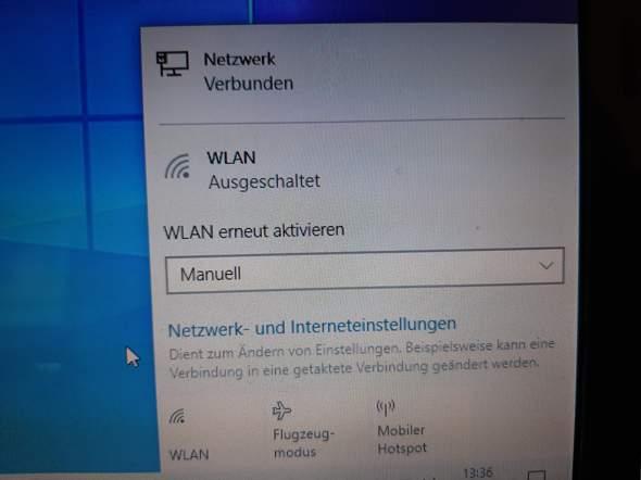Wie geht das W-Lan auf Windows 10 an?