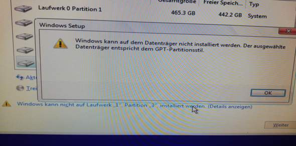 Wie kann ich Windows auf meiner ssd installieren ohne folgendem problem?