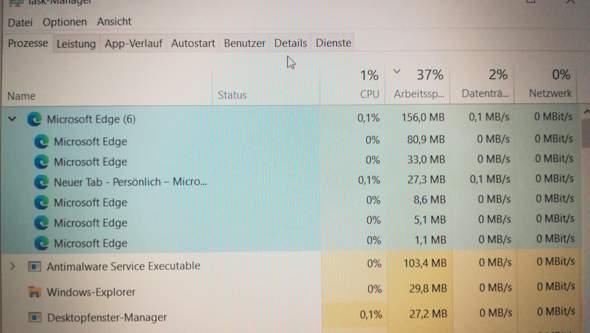 Microsoft Edge 6 Prozesse?