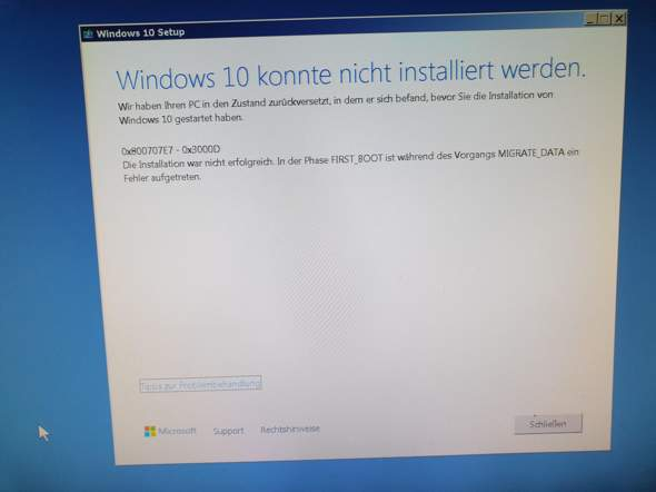 Windows 10 lässt sich nicht installieren?