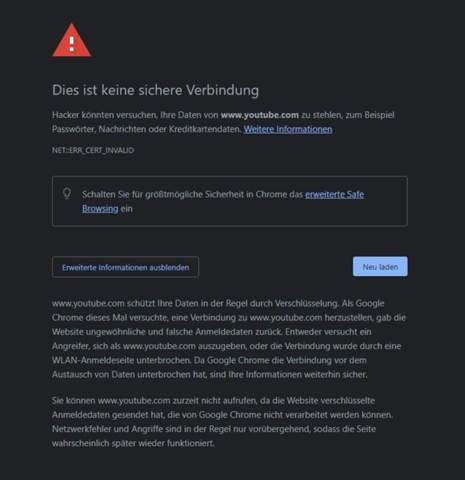 Fehlermeldung Google Chrome Browser?