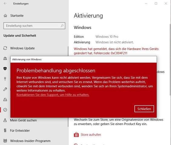 Windows 10 Reaktivierung funktioniert nach Motherboard tausch nicht?