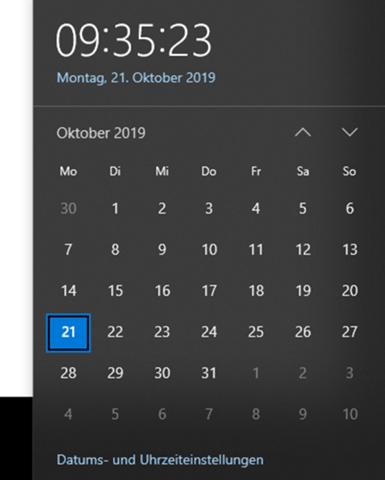 Wie zeigt mir der Kalender wieder meine Termine an?