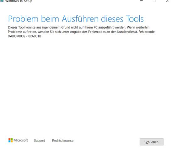 Windows 10  mit MediaCreationTool klappt nicht fehlermeldung siehe bild?