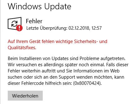 Windows 10 Updates können nicht geladen werden?