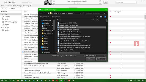 iTunes - wie Datei zur Mediatek hinzufügen (neuste Version, gültiges Dateiformat,...