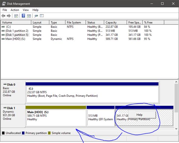 Warum kann ich meine ehemalige Linux partition nicht löschen/bearbeiten?