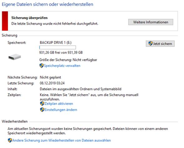Wieso funktioniert meine automatisierte Windows Sicherung nicht?