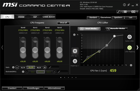 MSI Mainboard B450 A-Pro Command Center spinnt?