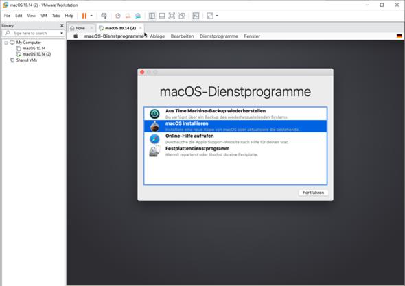 VMware Workstation MacOS 10.14.0 Fehler MacOS Mojave?