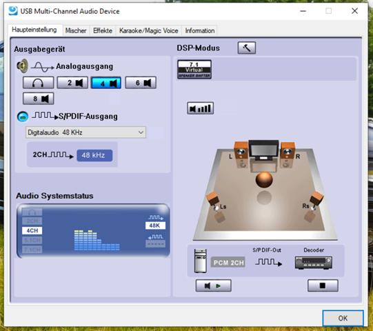 """AudioSignal von Stereo (2Ch) auf mehrere Kanäle """"klonen""""?"""