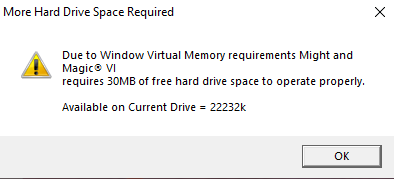 More Hard Drive Space Required, wie kann man das Problem beheben?