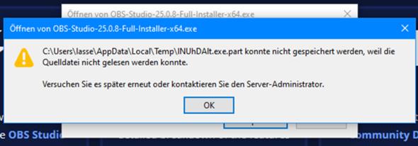 """""""Datei konnte nicht gespeichert werden"""" nach Win Neuinstallation?"""