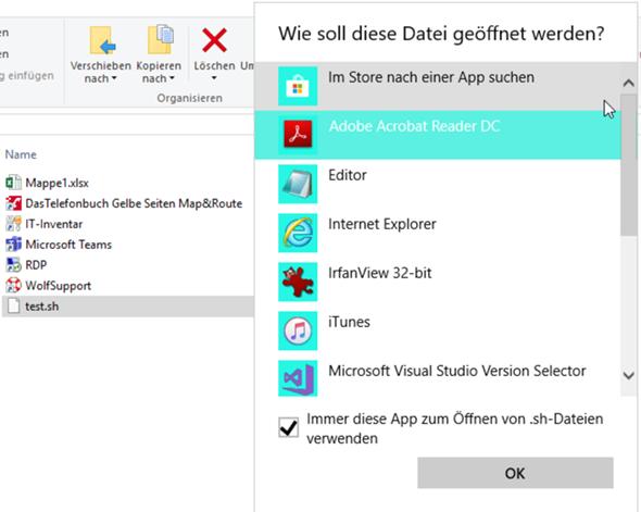 .sh-Datei wird standardmäßig mit Editor geöffnet, wie zurücksetzen?