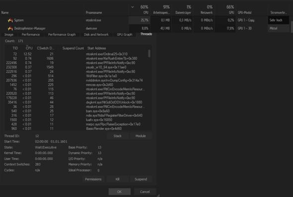 Hohe CPU auslastung von ntoskrnl.exe?