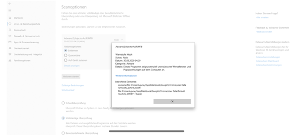 Windows Defender hat Bedrohung gefunden?
