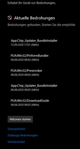 Windows aktuelle Bedrohungen?
