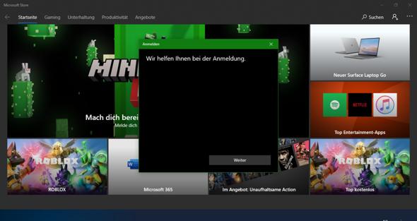 Microsoft Store Anmeldung funktioniert  nicht?
