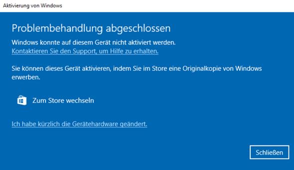 Windows 10 Key nicht mehr Gültig (nach Änderung der Hardware)?