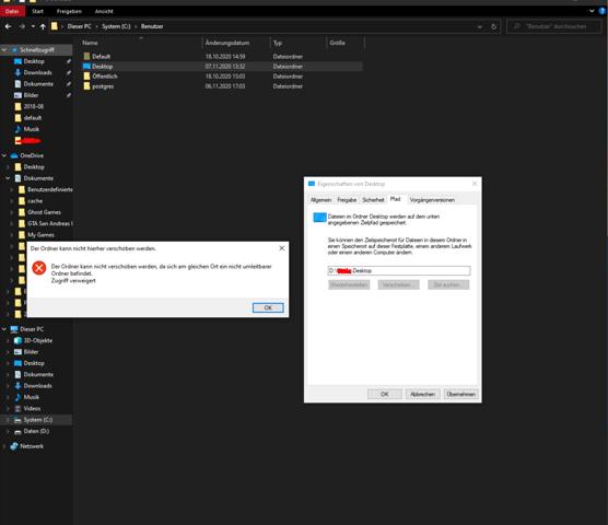 Benutzerordner in Desktop umgewandelt. Wie kann ich das