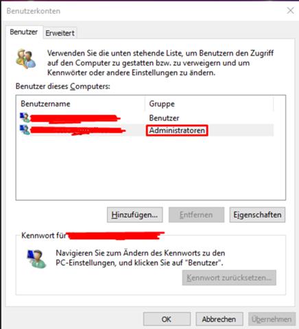 Wo kann man bei Windows 10 die Adminrechte bearbeiten?