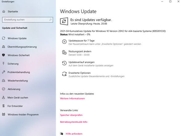 Windows 10 Update 20H2 für 64X basierende Systeme KB5001330?