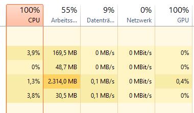 CPU Auslastung durchgängig bei 100 Prozent?