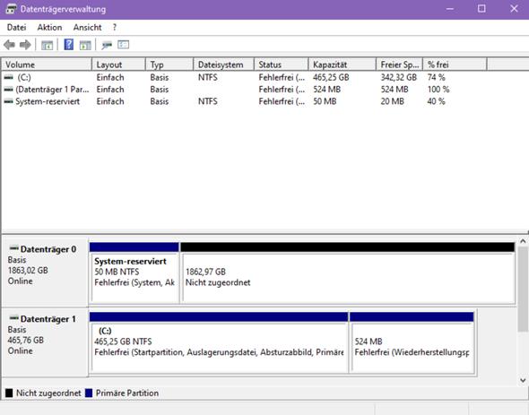 Windows zeigt system reserviert bei hdd?