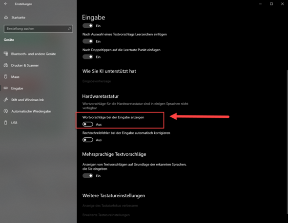Windows 10 Eingabe - Wortvorschläge + Alt Codes?