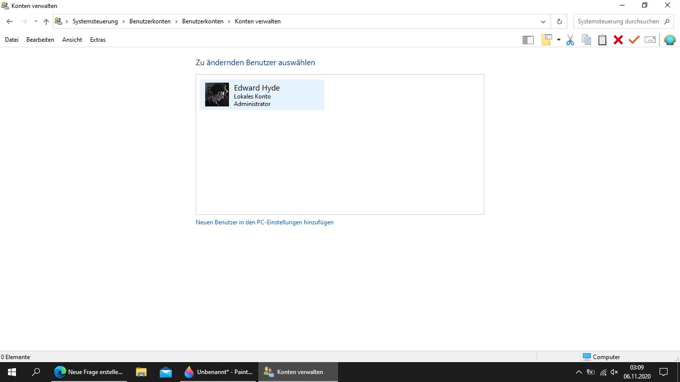 Nach Erstellung von Outlook-Konto neues Benutzerkonto das nicht zu löschen ist.