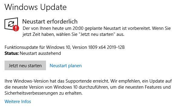 Funktionsupdate für Windows 10, Version 1809 x64 2019-12B endet in einem Fehler