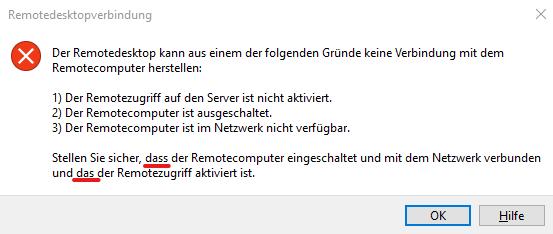 Rechtschreibfehler Remotedesktopverbindung