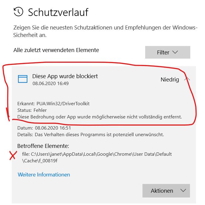 Schadsoftware PUA erkannt