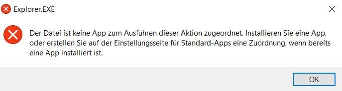 Explorer.exe - Der Datei ist keine App zum Ausführern der Datei zugeordnet