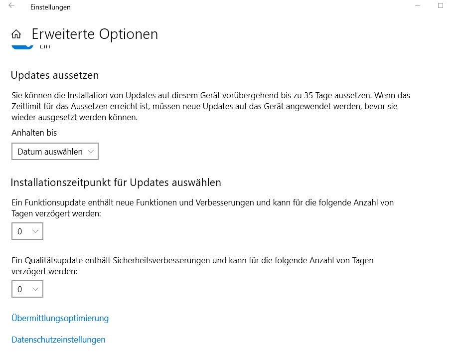 Windows10  blockiert Update bei Pro Versionen 1903 wegen Funktions-Qualitätsupdate in den...