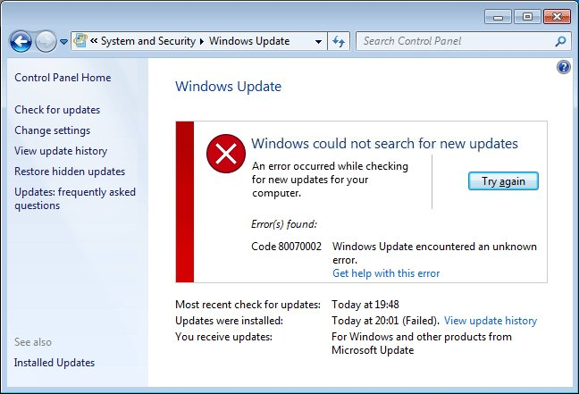 Funktionsupdate 1803 Fehler 0x80070002;